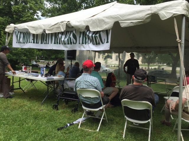 """Listening to Vietnam War """"Tanker"""" Jimmy Stewart in the Memorial Day Writers Project tent, 5-30-2016"""