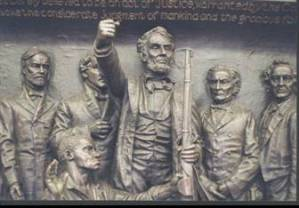 Lincoln Frees the Slaves, a sculpture inside the Soldiers and Sailors Monument